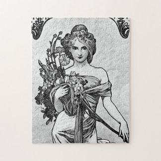 Gebrochene Blüten Alphonse Mucha Puzzle