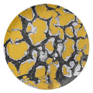 Gebrochene gelbe Straßen-Farbe Teller