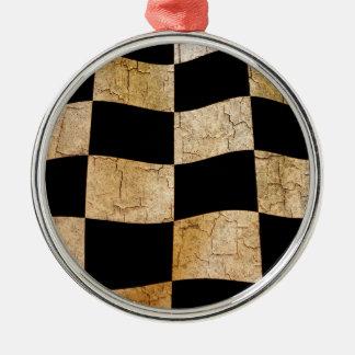 Gebrochene karierte Flagge Rundes Silberfarbenes Ornament