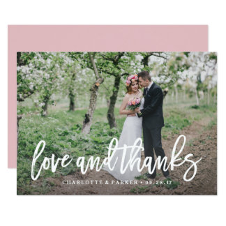 Gebürstete Hochzeit danken Ihnen Foto-Karte 12,7 X 17,8 Cm Einladungskarte