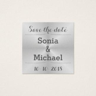 Gebürstetes Metall Save the Date Quadratische Visitenkarte