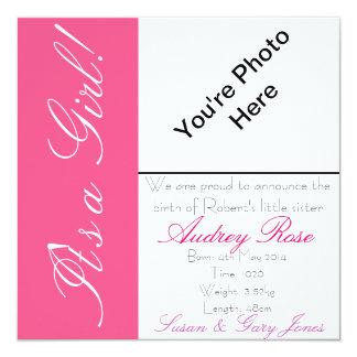 Geburt Announcment Mädchen Quadratische 13,3 Cm Einladungskarte