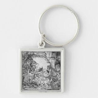 Geburt Christi, 1654 Silberfarbener Quadratischer Schlüsselanhänger