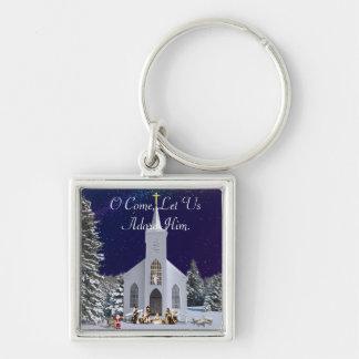 Geburt Christi an der Kirche Silberfarbener Quadratischer Schlüsselanhänger