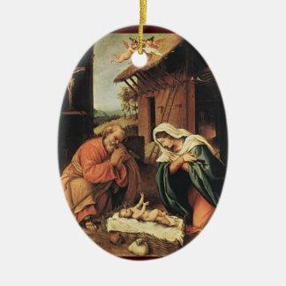 Geburt Christi mit Engeln Keramik Ornament