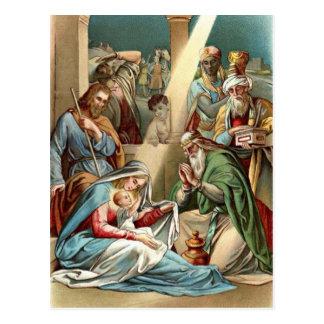 Geburt Christi mit weisen Männern Postkarte
