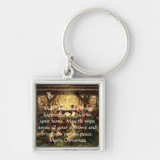 Geburt Christi Silberfarbener Quadratischer Schlüsselanhänger