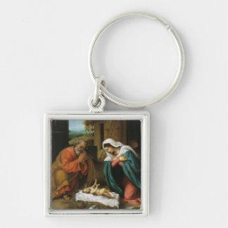 Geburt Christi von Christus Silberfarbener Quadratischer Schlüsselanhänger