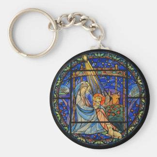Geburt Christis-Buntglas-Fenster Standard Runder Schlüsselanhänger