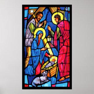 Geburt Christis-Buntglas-Weihnachten Poster