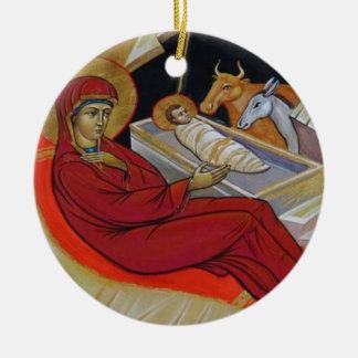 Geburt Christis-Ikonen-Weihnachtsverzierung Keramik Ornament