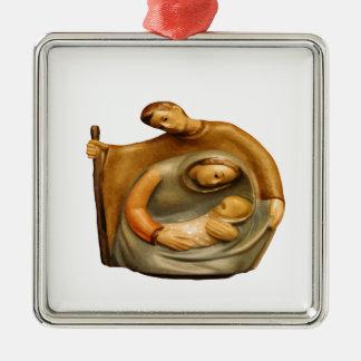 Geburt Christis-Szene Mary Joseph Jesus Quadratisches Silberfarbenes Ornament