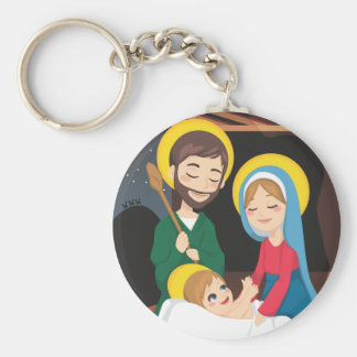 Geburt Christis-Szene Standard Runder Schlüsselanhänger