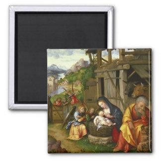 Geburt Christis-und Kinderengel c1515 Quadratischer Magnet