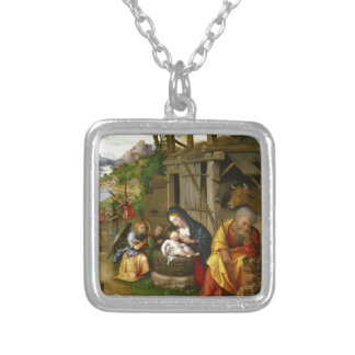 Geburt Christis-und Kinderengel Versilberte Kette