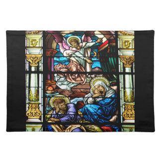 Geburt des Jesus-Buntglas-Fensters Stofftischset