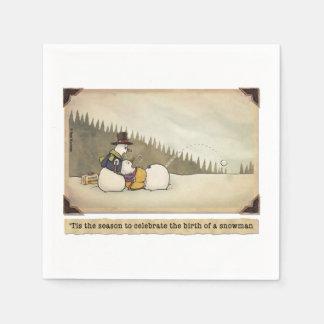 Geburt einer Schneemann-Cocktail-Serviette Servietten