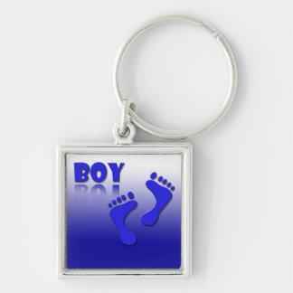 Geburt / Junge / Boy Silberfarbener Quadratischer Schlüsselanhänger