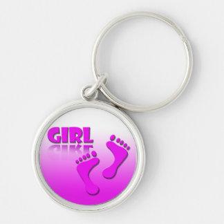 Geburt / Mädchen / Girl / Gift / Geschenk Silberfarbener Runder Schlüsselanhänger