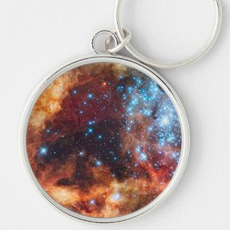 Geburt Stern-der kosmischen Silberfarbener Runder Schlüsselanhänger