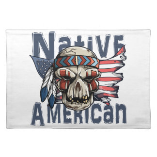 Gebürtige Ureinwohner-Krieger-Schädel USA-Flagge Tischset