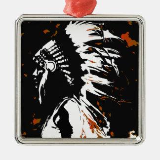 Gebürtiger amerikanischer Ureinwohner Quadratisches Silberfarbenes Ornament