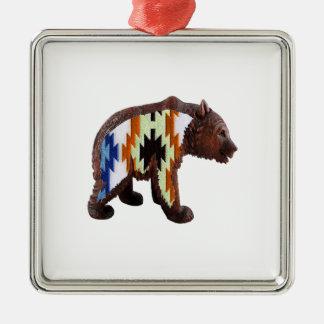 Gebürtiger Bär Quadratisches Silberfarbenes Ornament