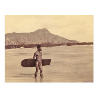 Gebürtiger hawaiischer Surfer, C. 1890 Postkarte