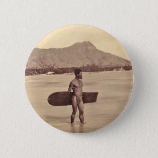 Gebürtiger hawaiischer Surfer, C. 1890 Runder Button 5,1 Cm