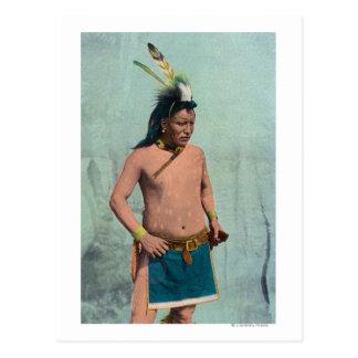 Gebürtiger Mann genannt Lone Elk Postkarte
