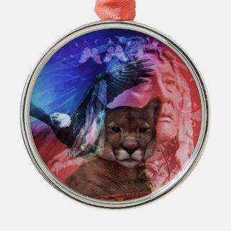 Gebürtiger Ureinwohner-Leiter Silbernes Ornament