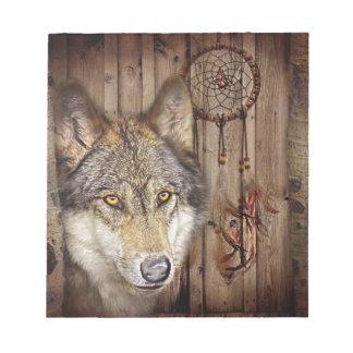 Gebürtiger Ureinwohnerwolf des Westerntraumfängers Notizblock