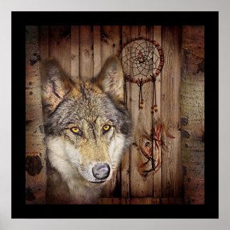 Gebürtiger Ureinwohnerwolf des Westerntraumfängers Poster