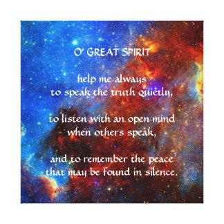 Gebürtiges Ureinwohner-Gebet Leinwand Druck