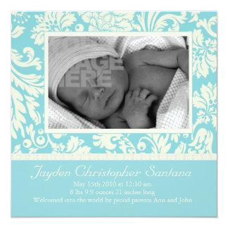 Geburts-Mitteilung - Babyblau mit Blumen Individuelle Ankündigungskarte