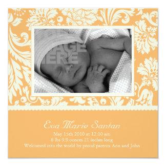Geburts-Mitteilung - creamsicle mit Blumen Quadratische 13,3 Cm Einladungskarte
