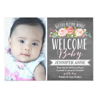 Geburts-Mitteilung der Rosen-Fahnen-Tafel-| 12,7 X 17,8 Cm Einladungskarte