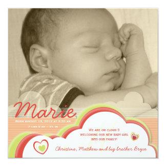 Geburts-Mitteilung der Wolken-9 Quadratische 13,3 Cm Einladungskarte