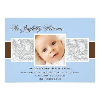 Geburts-Mitteilung der Zeit-3 (blau) 12,7 X 17,8 Cm Einladungskarte