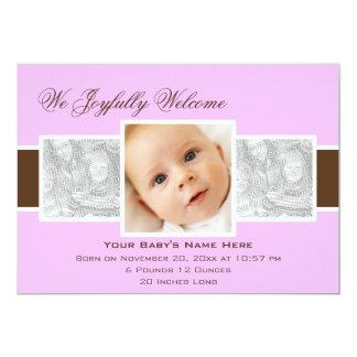 Geburts-Mitteilung der Zeit-3 (Flieder) 12,7 X 17,8 Cm Einladungskarte