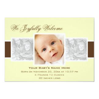 Geburts-Mitteilung der Zeit-3 (Gelb) 12,7 X 17,8 Cm Einladungskarte