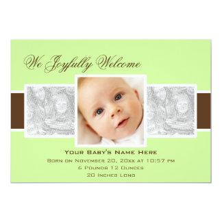 Geburts-Mitteilung der Zeit-3 (Minze) 12,7 X 17,8 Cm Einladungskarte