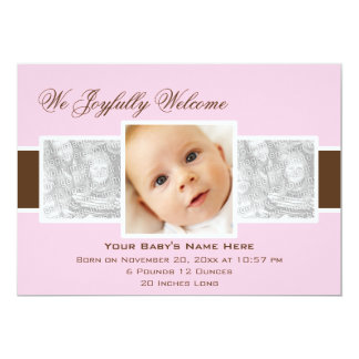 Geburts-Mitteilung der Zeit-3 (Rosa) 12,7 X 17,8 Cm Einladungskarte