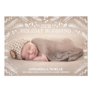 Geburts-Mitteilung des Feiertags-Segen-Laub-  12,7 X 17,8 Cm Einladungskarte