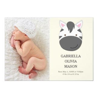 Geburts-Mitteilung des Zebra-| 12,7 X 17,8 Cm Einladungskarte