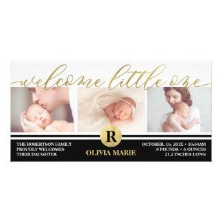 Geburts-Mitteilung, Imitat-Goldfolie Karte