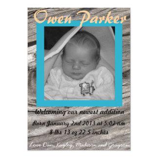 Geburts-Mitteilung (JUNGE) 11,4 X 15,9 Cm Einladungskarte