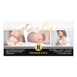 Geburts-Mitteilung, Junge, Imitat-Goldfolie Karte