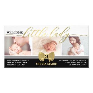 Geburts-Mitteilung, kleine Dame, Imitat-Goldfolie Karte