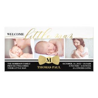 Geburts-Mitteilung, kleiner Mann, Imitat-Goldfolie Karte